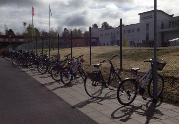Bikes in front of the school